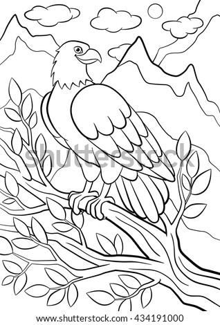 Coloring pages. Wild birds. Cute eagle sits on the tree branch among mountains and smiles. - stock vector