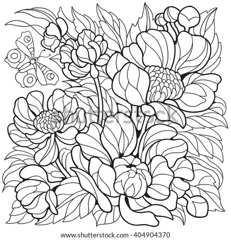 Coloring Pages Flowers Peonies Butterfly Stock Vector 404904370 ...