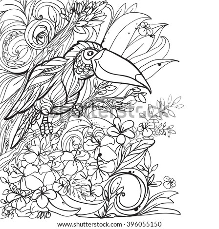 Coloring pages with tropical birds, flowers and leaves. Background. Vector. - stock vector