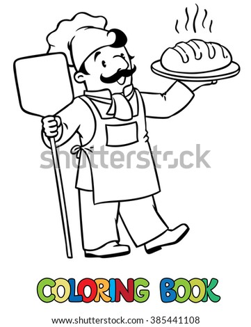 Coloring picture or coloring book of funny cook or chef or baker with bread. Profession series. Children vector illustration. - stock vector