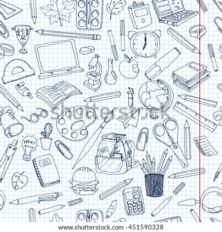 Coloring school  pattern. Seamless texture with pencils, books, chalkboard and different objects.  Doodle vector elements. Back to school background. Hand drawn sketch.