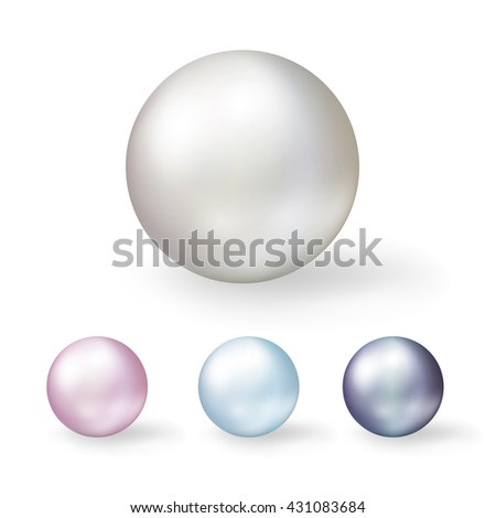 Coloring shell pearls isolated on white background.