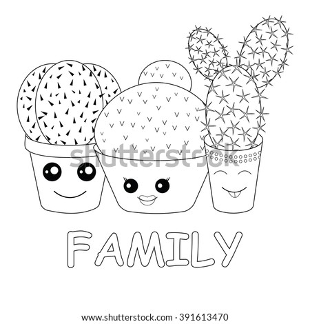 Coloring Cacticoloring Pagehilarious Family Cacti On Stock Vector