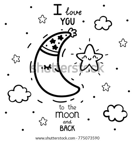 Coloring Cute Star Waning Crescent Moon Stock Vector 775073590