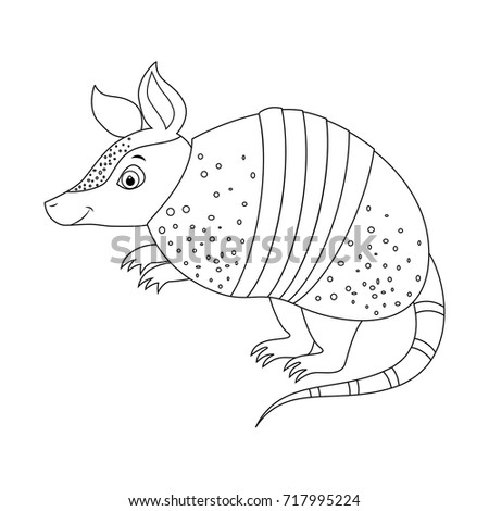 colorless funny cartoon armadillo animals of north america vector illustration coloring page
