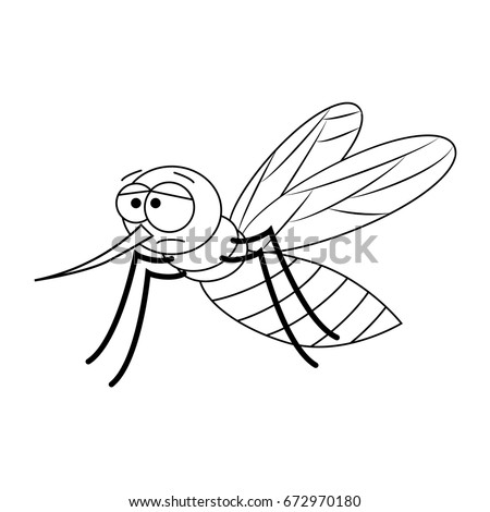 Colorless Funny Cartoon Mosquito Vector Illustration Coloring Page Preschool Education