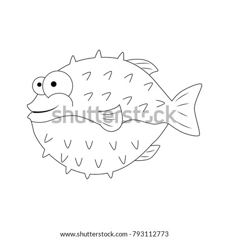 Colorless Funny Cartoon Puffer Fish Vector Stock Vector ...