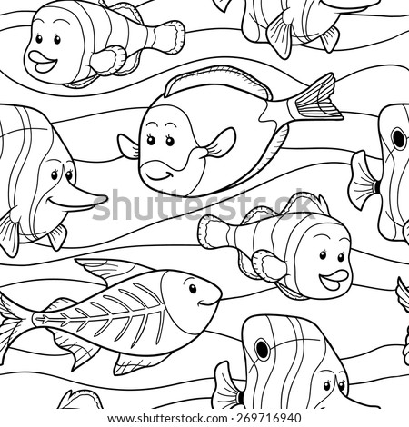 Colorless vector pattern with fish - stock vector