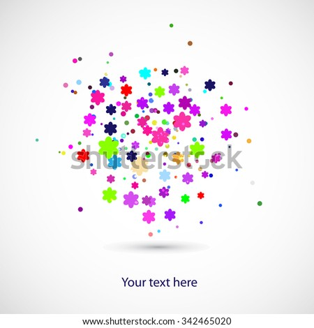Colors background with circles and flowers - stock vector