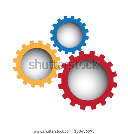 Colors gear over white background vector illustration