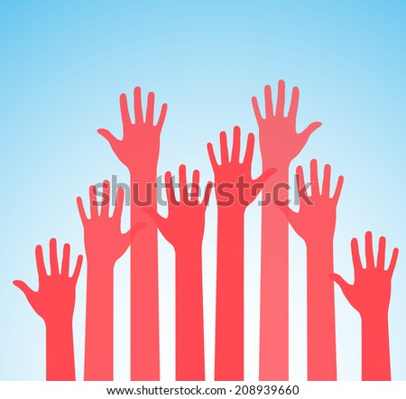 Colors hands up - stock vector
