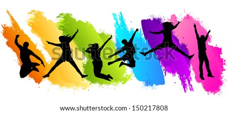 Colors Jumping - stock vector