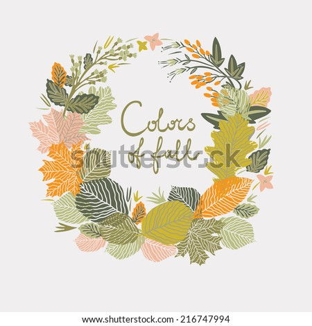 Colors of Fall Print Design - stock vector