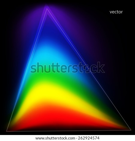 Colors of the rainbow in a triangular shape. Abstract background. Vector illustration - stock vector