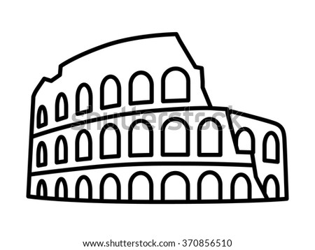 Colosseum / Coliseum amphitheater in Rome, Italy line art icon for travel apps and websites - stock vector