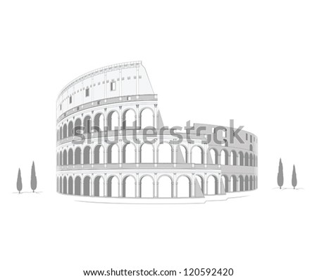 Colosseum - highly detailed drawing - stock vector