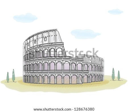 Colosseum - sketch drawing - stock vector