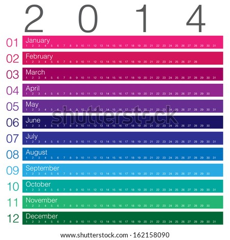 colouful calendar 2014 minimal design - stock vector