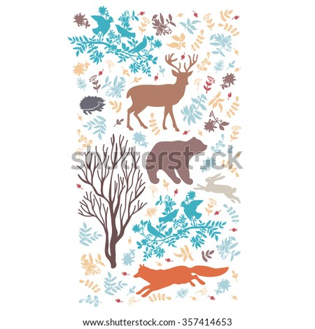Colour composition with wild animals.  Vector illustration. Illustration for greeting cards, invitations, and other printing projects.