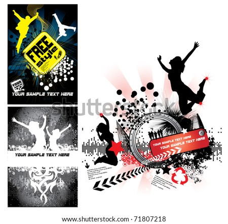 Colour grunge posters - stock vector