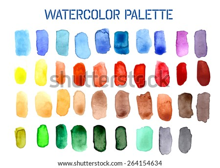 Colour Palette Comprising of Watercolour Swatches in Various Shades. EPS10 Vector Format - stock vector