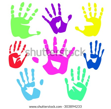 Colour palm hands