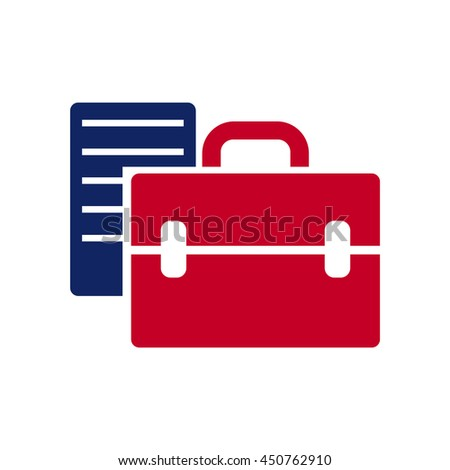 Coloured briefcase and document vector illustration for business. Universal pic for business, politics, and so on. Applicable for Web and Mobile. - stock vector