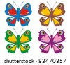 Coloured butterfly - stock vector