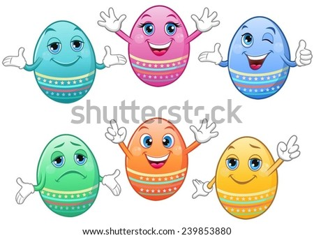 Coloured Easter eggs with various face expressions and moods. - stock vector