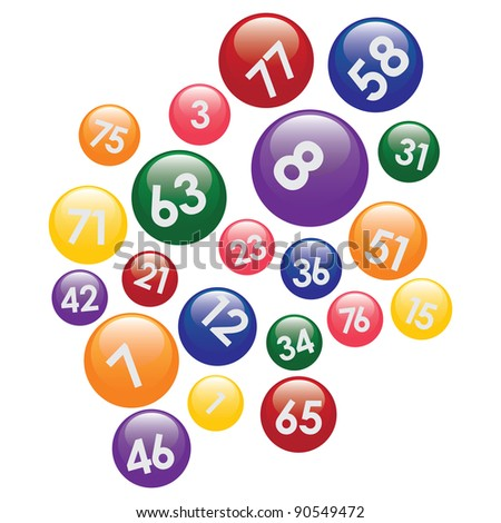 Coloured lottery balls with numbers on the white background. - stock vector