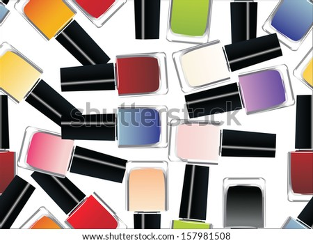 Coloured nail polish bottles seamless pattern