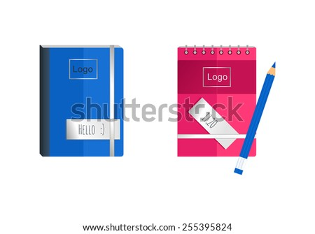 Coloured notebooks and pencil - stock vector