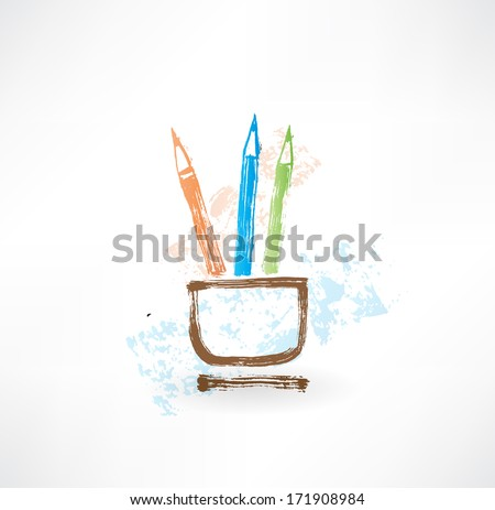 coloured pencil grunge icon. - stock vector
