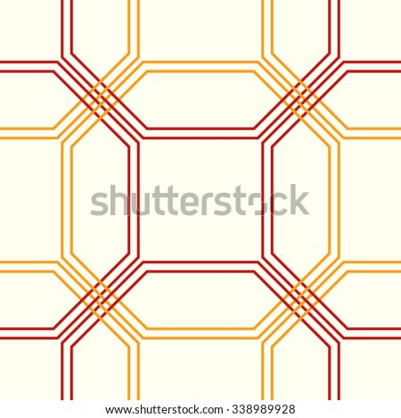 Coloured seamless pattern with interlacing octagons - stock vector