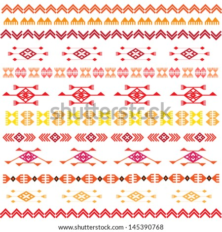 coloured tribal vector seamless pattern - stock vector