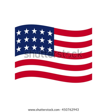 Coloured USA flag. Vector illustration of american flag.