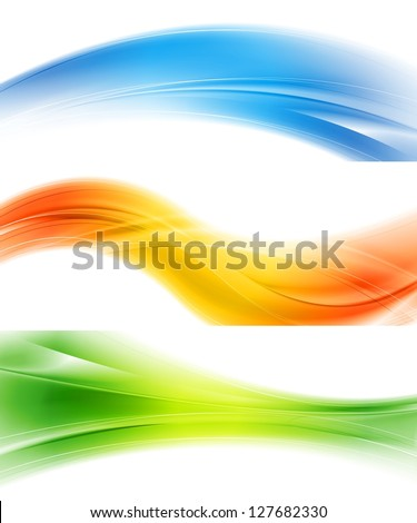 Colourful banners with abstract waves. Vector design eps 10. Gradient mesh included - stock vector