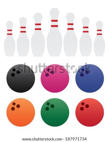 Colourful Bowling Ball and Bowling Pins Set - Vector - stock vector