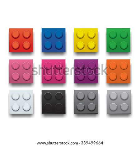 Colourful Building Bricks from Above - stock vector