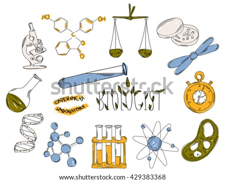 Colourful children's illustration with a pencil. The collection of linear hand drawn icons. Icons tools of the biologist. Chemical laboratories are. Vector illustration - stock vector