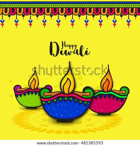 Colourful creative lit lamps on rangoli stock photo photo vector colourful creative lit lamps on rangoli beautiful greeting card vector traditional diwali festive background m4hsunfo