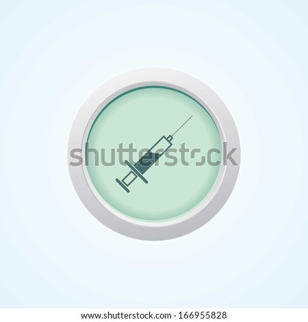 Colourful editable icon of Medical syringe with vaccine - Vector icon. On Button. - stock vector