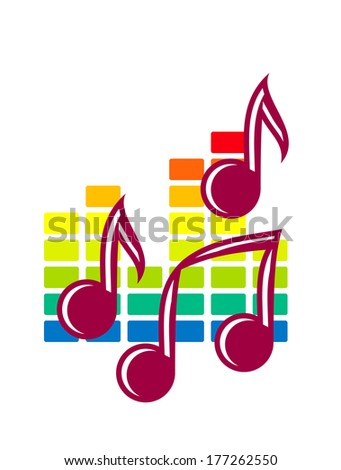 Colourful festival or party icon with music notes logo over a background pattern in the colours of the rainbow isolated on white - stock vector