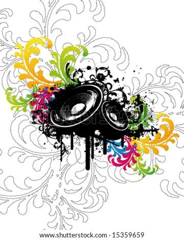 Colourful Flower Party Speaker - stock vector