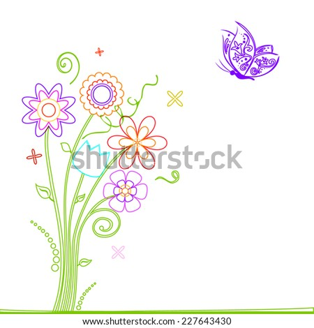 Colourful flowers and butterfly design - stock vector