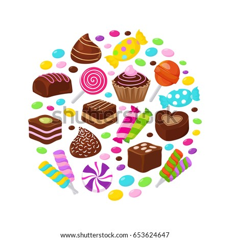 Colourful fruit candies and chocolate sweets flat icons in circle design. Sweet snack candy chocolate, illustration of sweet tasty caramel lollipop