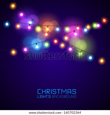 Colourful Glowing Christmas Lights. Vector illustration - stock vector