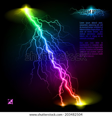 Colourful oblique branchy lightning line. Illustration with space for text - stock vector