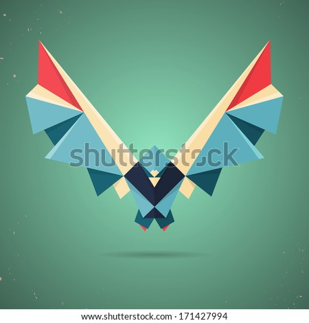 Colourful origami pigeon or dove made of folded paper in the Japanese tradition with a geometric pattern on a green background - stock vector