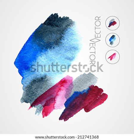 colourful paint stains grunge set - vector - stock vector